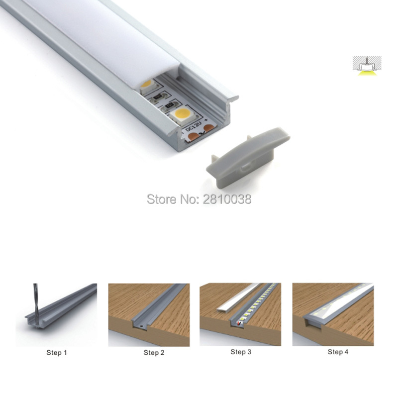10 X 2M Sets/Lot Flat led strip aluminium profile and T style recessed aluminum led extrusion housing for wall or ceiling