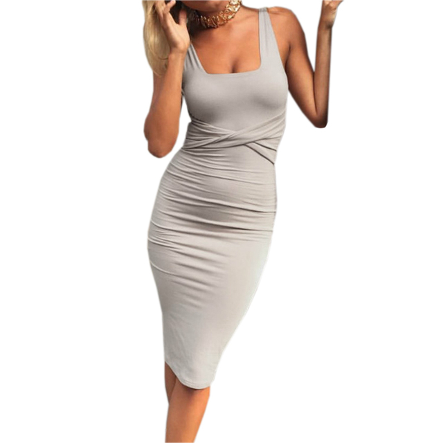 3364b9ce8 Vestido de oficina señoras Sexy vestidos verano sólido sin mangas apretado  Bodycon vestidos de fiesta para mujeres vestido túnica mujer Clubwear GV575