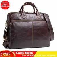 Hohe qualität Aus Echtem Leder Mann Handtasche 15,6 Zoll Luxus marke Tragbare Computer Business Angelegenheiten Aktentasche beste Kostenloser versand