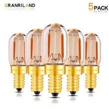 Granriland T22 Диммируемый светодиодный Эдисон Ночная лампочка с нитью накаливания из янтарного стекла трубчатый 1 Вт 2200 к E12 E14 110-240 В Декоративное подвесное освещение