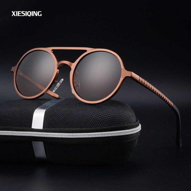 2017 nuevas gafas de sol Retro redondas de aluminio con montura de magnesio para mujer gafas de sol redondas de diseñador de marca para hombre polarizadas oculos de sol