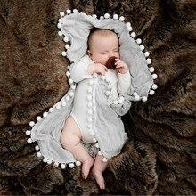 Одеяло с помпонами для новорожденных мальчиков и девочек, пеленка для сна, одеяло с Минки, одеяло, коврик для украшения дома, текстиль#25