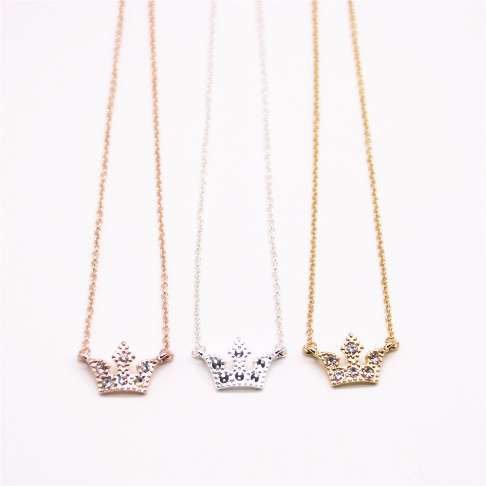 Trendy rhinestone Pendant necklace Noble crown necklaces for women wholesale and mixed color free shipping