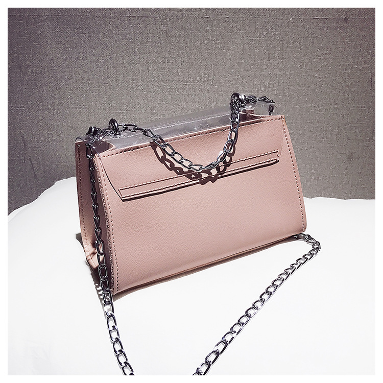18 Summer Fashion New Handbag High quality PVC Transparent Women bag Sweet Printed Letter Square Phone bag Chain Shoulder bag 23