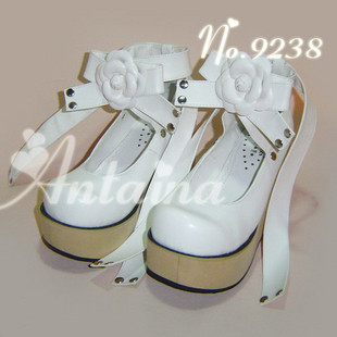 Princess sweet lolita gothic lolita shoes custom lace 9244 wood platform high heels Mary janes round toe rose flower band super lovely white rabbit ears lolita princess platform heels shoes comfortable round toe cos shoes