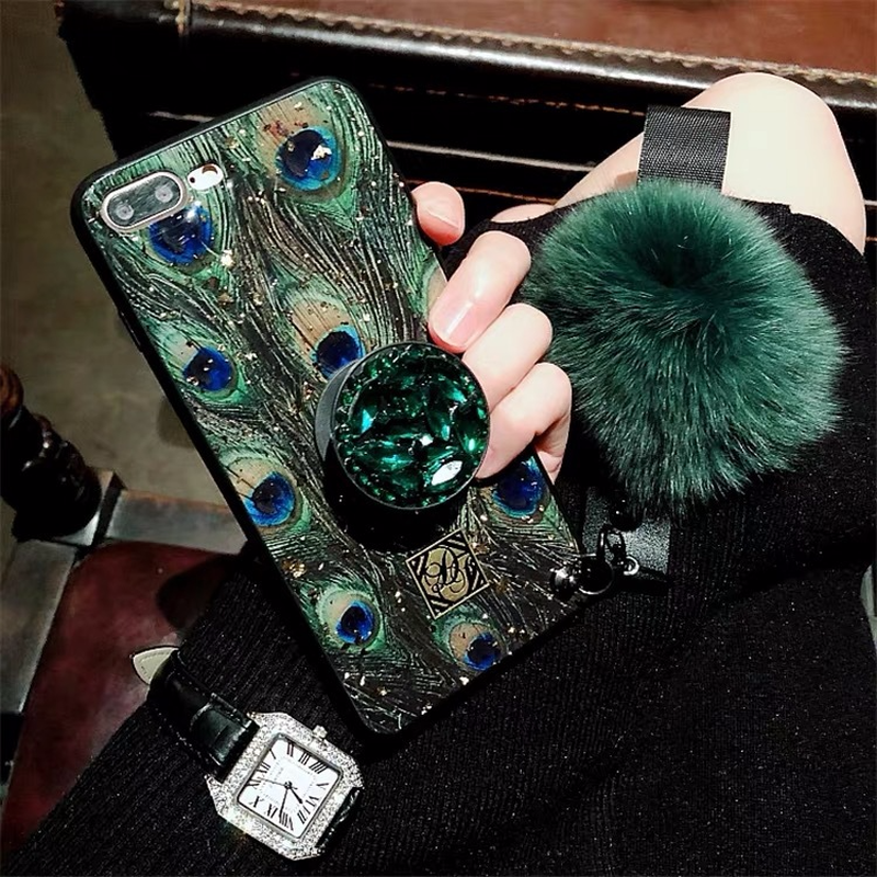 Hair ball rhinestone bracket For iPhone 6 6s 7 8 Plus  Cases Soft For iPhone X S MAX Back Cover Coque-in Fitted Cases from Cellphones & Telecommunications