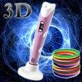 1.75mm ABS/PLA DIY 3D Printing Pen LED/LCD Tela 3D Pena Pintura Caneta + Filamento + adaptador Criativo Toy Presente Para Crianças Desenho