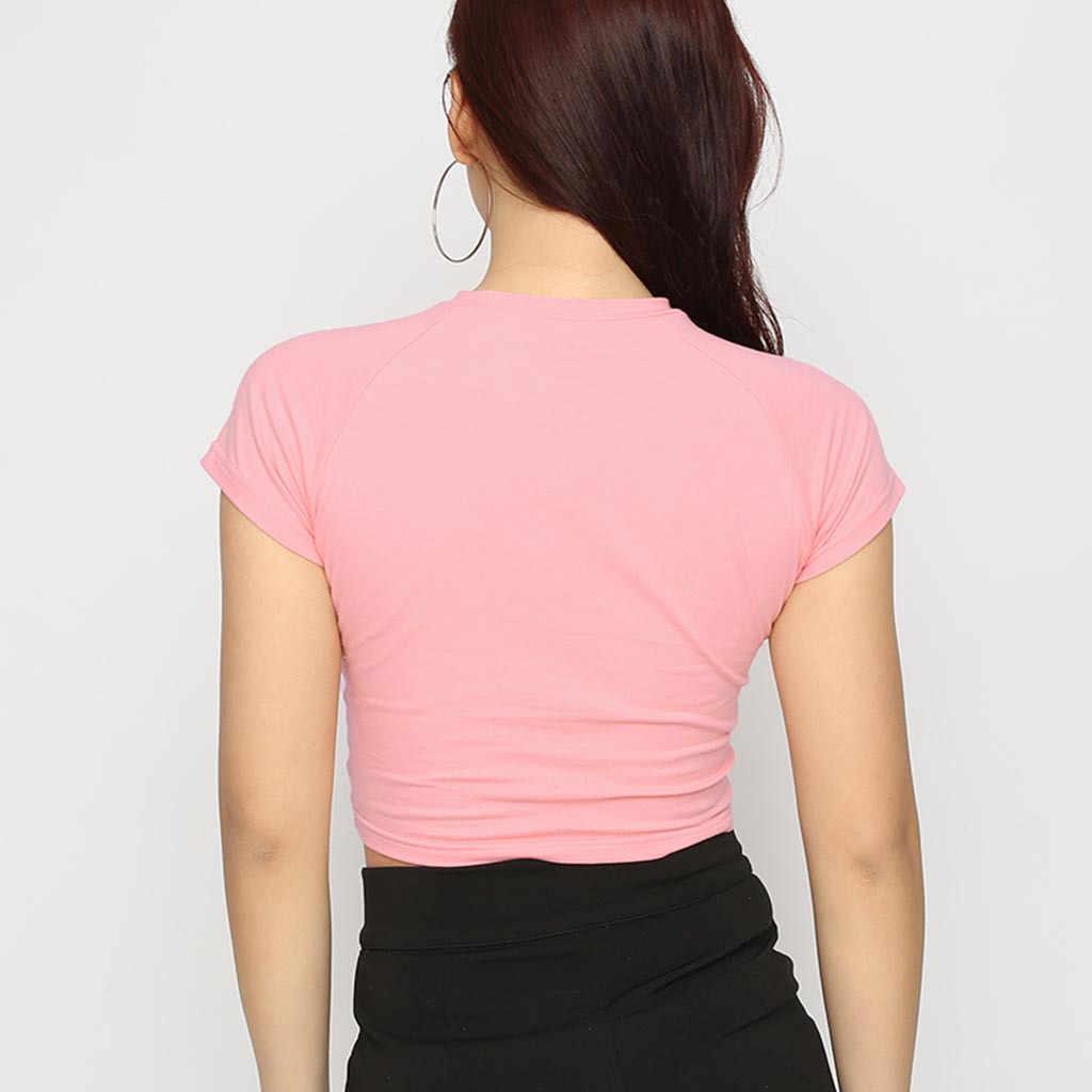 Harajuku Yaz Moda Kırpma Üstleri Sevimli Baskı kadın Yaz Rahat Ayı Baskı Yuvarlak Boyun üst t-shirt chemise femme 2019 sıcak satış