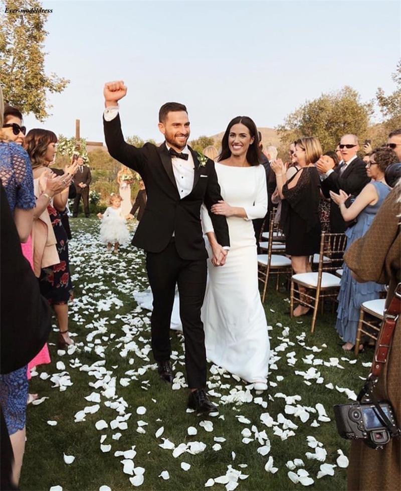 Sheath Wedding Dresses 2019: Western Country Satin Sheath Wedding Dresses 2019 With