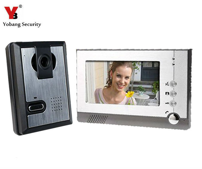 Yobang Security 7 TFT LCD Color Video Door Phone , Video Doorbell Audio Visual Intercom Monitor with CMOS Camera yobang security freeship video door phone system visual intercom doorbell 7 tft color lcd one monitor outdoor infrared camera