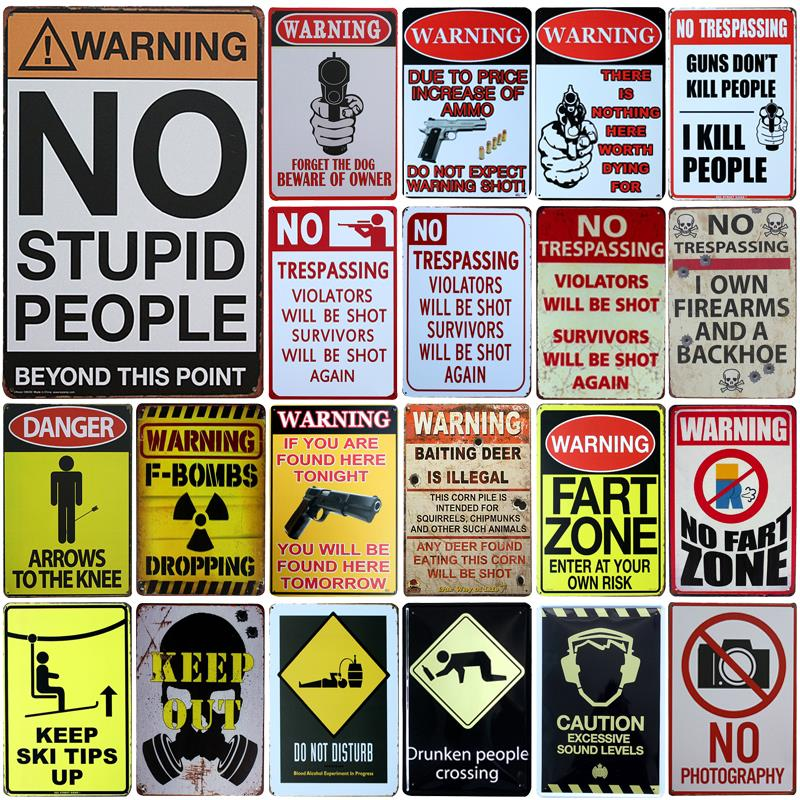 Plaques & Signs Energetic Warning No Parking Metal Signs Tin Poster Caution Danger No Smoking Wall Art Painting Advertising Board Vintage Home Decor Yd019