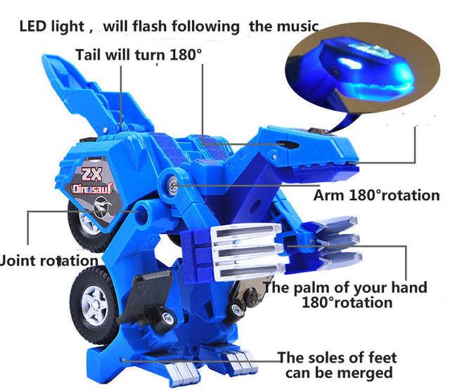 Transformation Cadeaux Garçon À En Combat Pour Voiture Figurine De Véhicule Avec Et Robot Son Jouet Modèle Lumineux Plastique Dinosaure Led CBxoEQderW