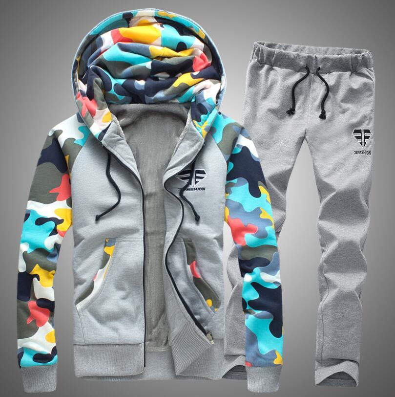 Hommes survêtement ensemble hiver épaissir capuche veste + pantalon Sweatshirts 2 pièce ensemble Hoodies sport costume manteau Couple Sportswear 4XL # c97