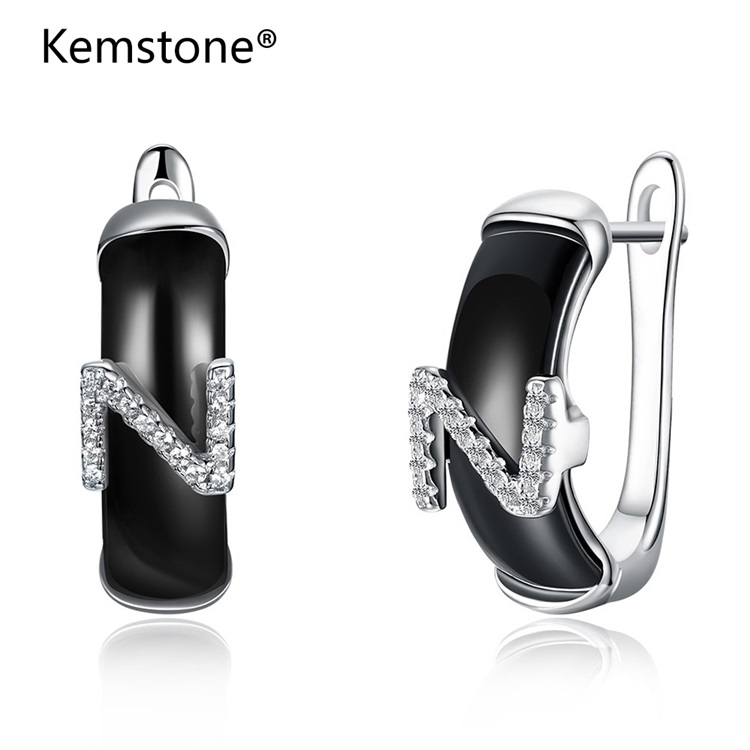 Kemstone Fashion Sterling Silver White & Black Ceramics Stud Earrings Crystal English Letter N Shape Earrings for Women Jewelry