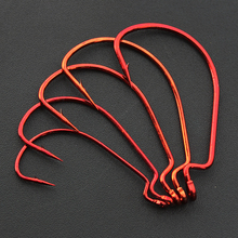 100Pcs Lot Fishing Hook Red Wide Belly Crank Hook Worm Hook For Bass Soft bait Texas
