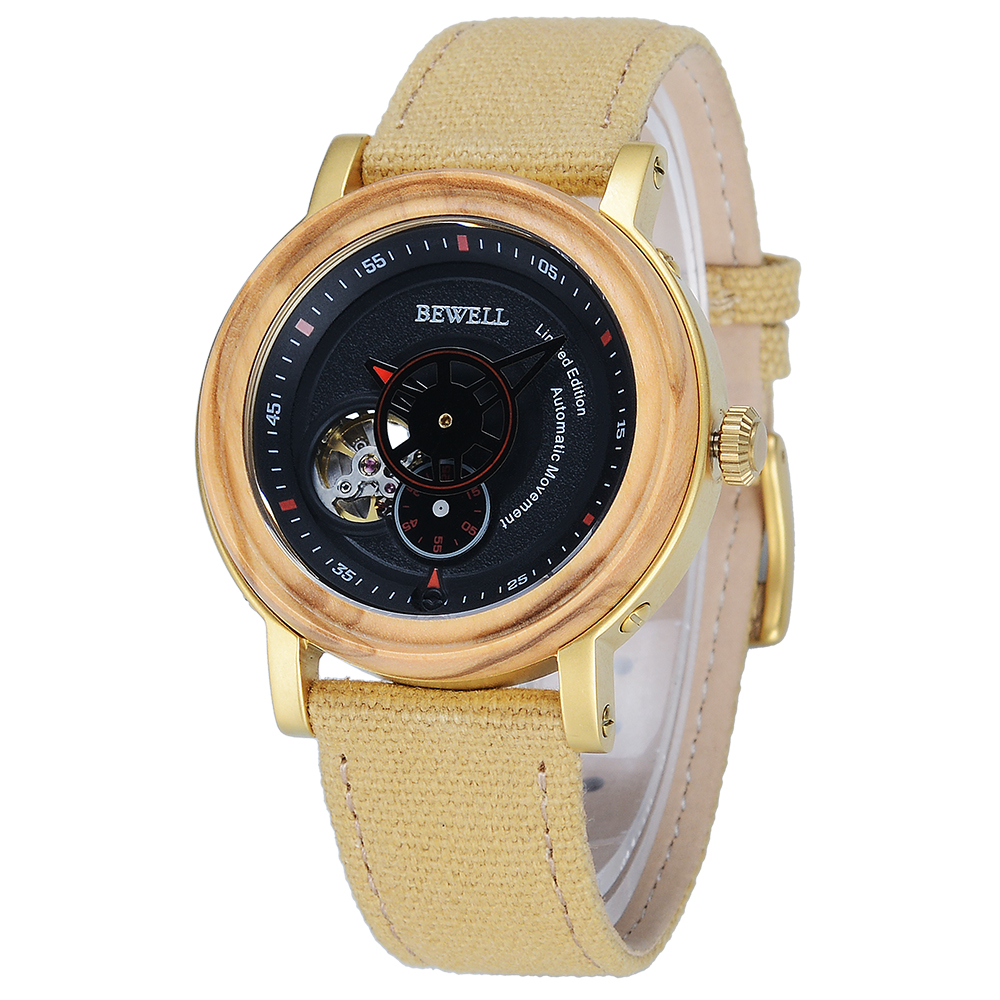 BEWELL Mechanical-Wristwatches Forsining Wood-Design Automatic Brand Relogio Male Gift-Box