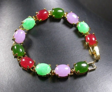 ZCD bracelet 320+++Gold Plate CHINESE Red Lavender Green Cabochon Bead Bangle Bracelet(China)