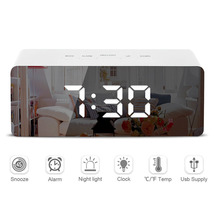 Multifunction Digital Electronic LED Mirror Alarm Clock Snooze Display Time Temperature Night Light Mode Table Desk Alarm Clock