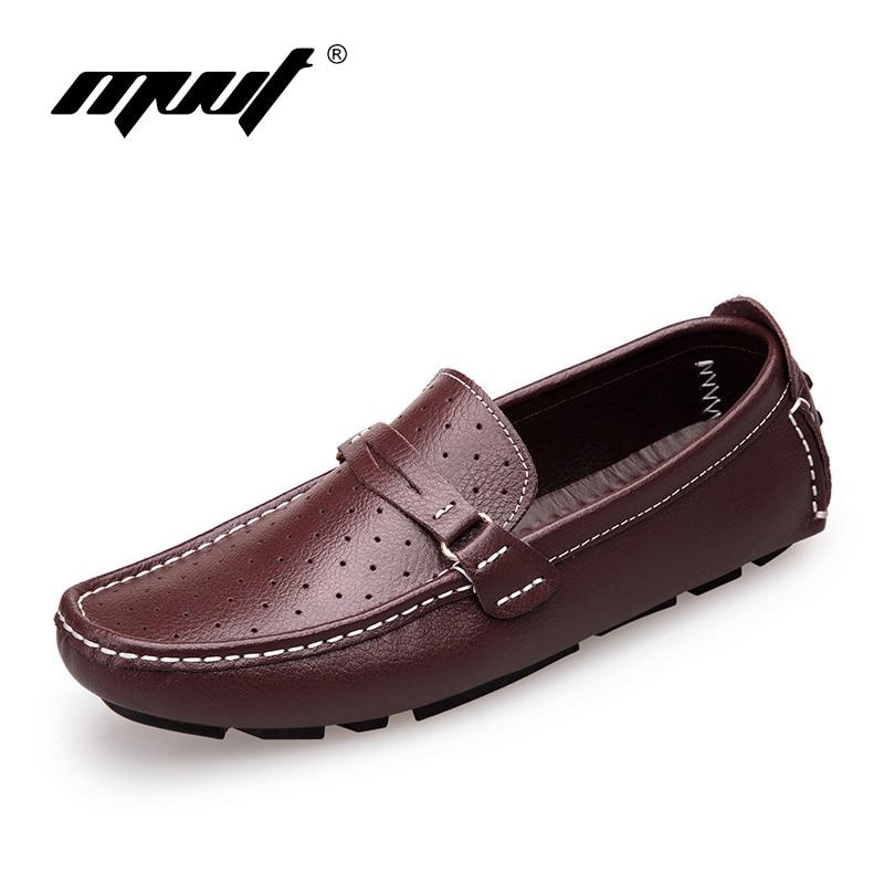 Artı boyutu 47 Süper rahat Hakiki deri erkek ayakkabı Loafers lace up erkek flats ayakkabı Moda Nefes yaz rahat ayakkabılar