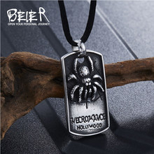 Beier Top Quality Stainless Steel Necklace Punk New Spider tag Pendant Punk Fashion Jewelry For man WR-P007(China)
