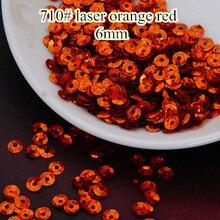 Decoration Confetti Laser Paillettes-Sewing Sequins 6mm Orange Bright 50g Cup Round 710