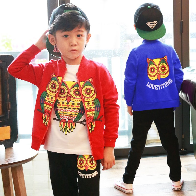 3PCS Kids Clothes Set Owl Pattern Baby Boys Clothing Set Toddler Boy Jacket T-shirt Pants Children Costume 2017 Spring Outfits 1 5yrsnew baby boy girls clothes spring kids clothes gentleman toddler suit 2pcs boys clothing set boy clothes children clothing