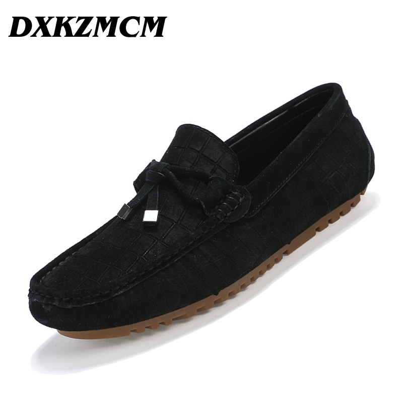 DXKZMCM Men Casual Shoes Fashion Men Shoes Leather Men Loafers Moccasins Slip On Men Flats  Male Shoes dxkzmcm genuine leather fashion mens casual shoes cowhide driving moccasins handmade slip on loafers