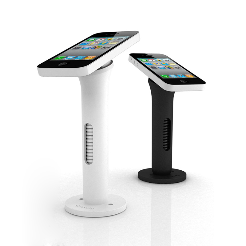 Mobile phone security stand cell phone display holder white and black anti-theft for retail shop with hiden retractable wirre cell phone security anti theft display stand with alarm and charging function for mobile phone retail store exhibition 10pcs lot