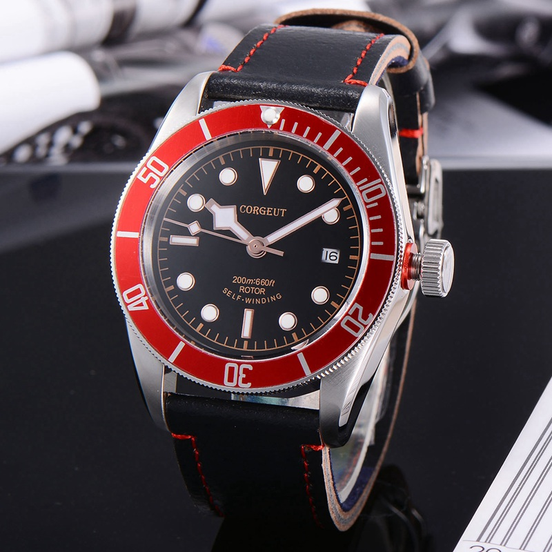 Corgeut 41mm Mens Automatic Watch, Black Dial Red Rotatable Bezel Sapphire Glass Leather Strap Miyota 8215 Movement CA2010RG 41mm corgeut black dial blue bezel sapphire glass miyota movement mechanical automatic men watch leather strap leisure watch