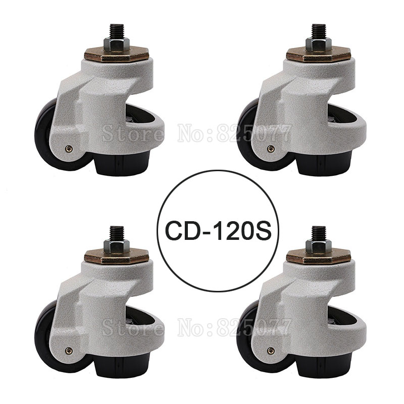 4PCS CD-120S Load Bearing 1000kg/pcs Level Adjustment MC Nylon Wheel and Aluminum Pad Leveling Caster Industrial Casters JF1561 4pcs cd 80t load bearing 500kg pcs level adjustment nylon wheel and triangular plate leveling caster industrial casters jf1563
