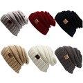 Novo Estilo de Outono Inverno Quente Malha de Lã Gorros Caps Para Homem E Mulheres Carta Impressão slouchy Chapéus de Crochê Sólida
