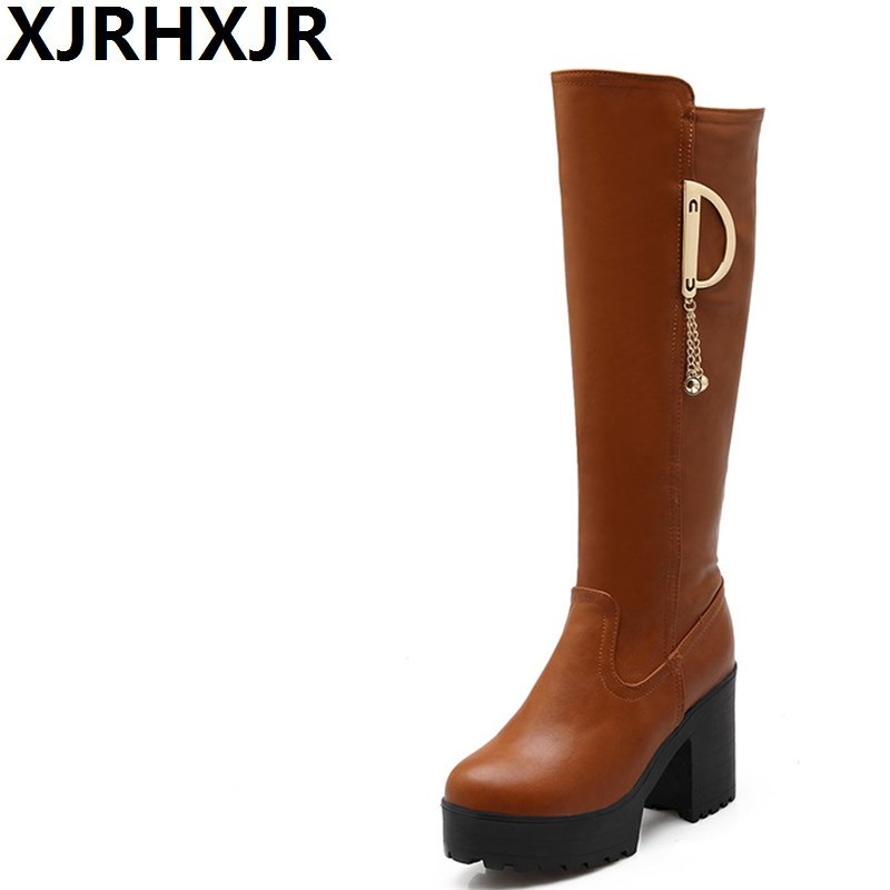 XJRHXJR Thick High Heels Winter Warm Shoes Woman Fashion Round Toe Platform Long Boots Ladies Pu Leather Thigh Knee High Boots