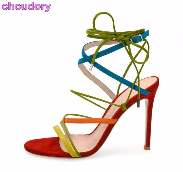 7ce53e1f3 Young Girl s Multi-color Thin Strappy Sandals Stiletto Heels Lace-up Cross  Strappy Dress Pumps Colorful Tied Party Shoes
