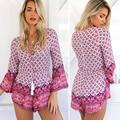 2017 Outono Verão Mulheres Casual Solto Floral impresso V-neck atadura Jumpsuits Rompers Calças Curtas Macacão Elegante