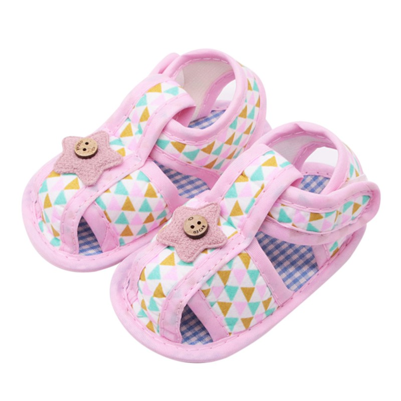 Summer Cute Canvas Baby Shoes Baby Girl Hollow Plaid Soft-Soled Princess Crib Shoes Star Heart Floral Insert Prewalkers Shoes