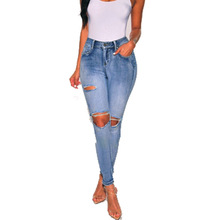 Sexy Slim Jeans Women Ankle Length Jeans Shredded Sexy Jeans Casual Slim Denim Pants Large Size zipper up hem shredded jeans