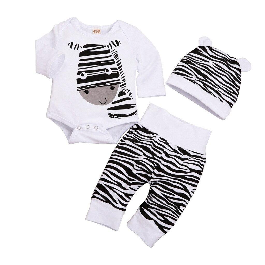 3pcs Boy Girl Baby Newborn Cartoon Hat+Romper+Pant Bodysuit Unisex Clothing Set