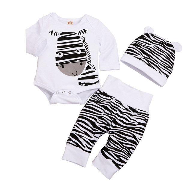 51fa042df5e03 US $3.22 38% OFF|3Pcs Cute Newborn Baby Boy Clothes Infant Clothing Set  Zebra Print Romper Pants Hat Toddler Boys Clothing Set Winter Baby  Outfit-in ...