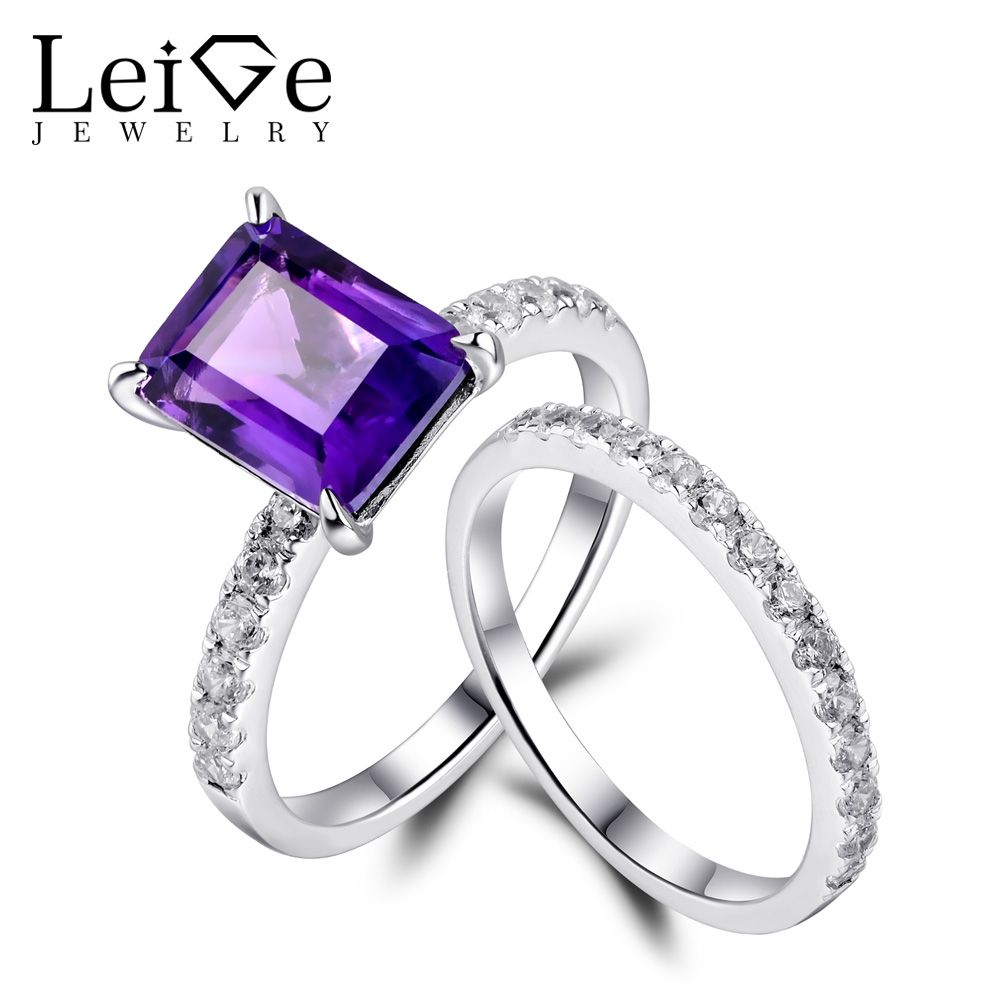 Leige Jewelry Natural Gemstone Rings Set for Women Anniversary Gift Emerald Cut Amethyst Ring Sterling Silver Fine Jewelry