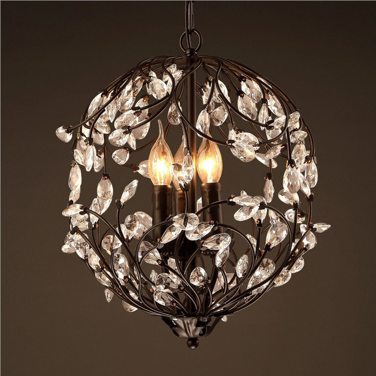 40cm retro industrial iron branches crystal chandeliers living room bar cafe crystal decorative Chandelier40cm retro industrial iron branches crystal chandeliers living room bar cafe crystal decorative Chandelier