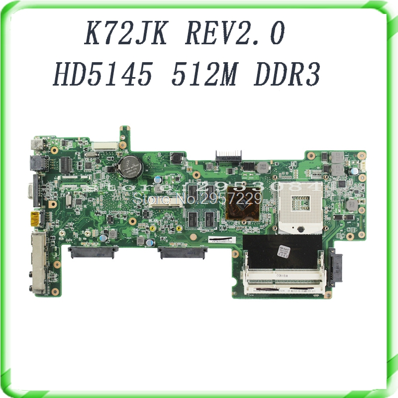 Original K72JR K72JU K72JK K72JT HM55 HD5145 1GB DDR3 216-0728014 laptop Motherboard X72J mainboard 100% fully tested S-6 hot selling k72ju k72jt laptop motherboard for asus x72j mainboard hm55 hd6370m rev2 0 1gb ddr3 216 0774211 fully tested 100