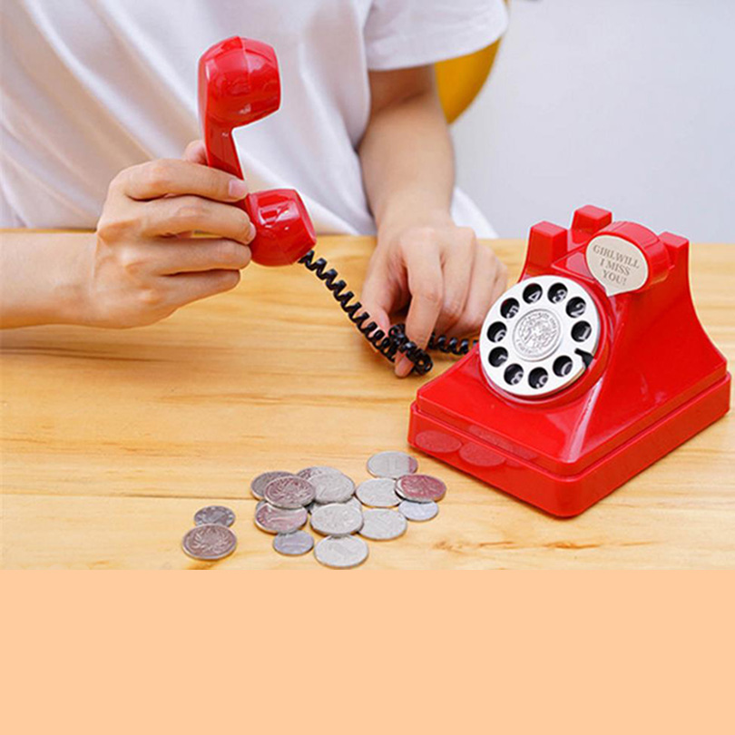 Original RetroTelephone Money Box Old Fashion Telphone Secret Safe Box Kids Gift Vintage Toys For Coin Saving Plastic Piggy Bank