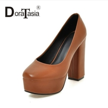 DoraTasia Brand New Fashion Thick Platform Women Pumps Sexy Square Super High Heels Slip On Woman Party Shoes
