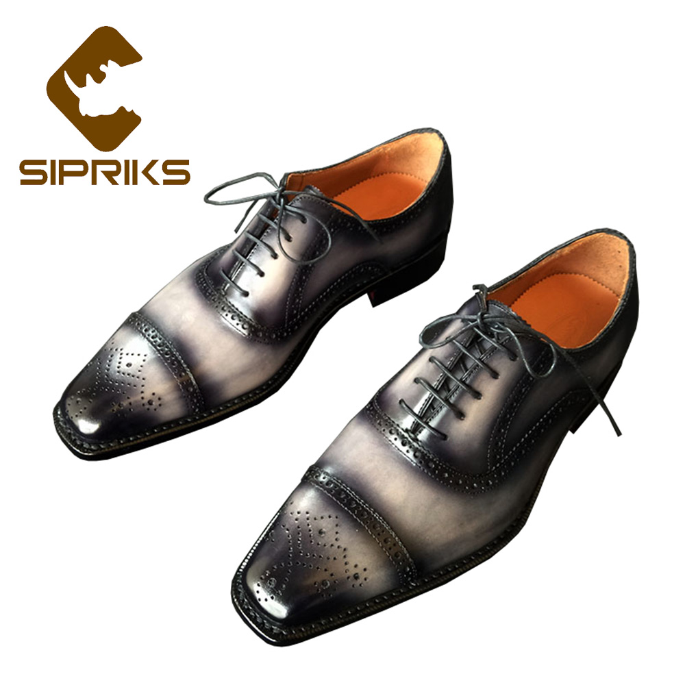 Sipriks Luxury Mens Goodyear Welted Shoes Italian Custom Patina Leather Brogue Oxfords Male Wedding Dress Shoes
