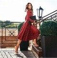 7xl красный плед платье 2017 новый плюс размер женская одежда высокая талия с длинным рукавом средний-икра макси платье старинные платье