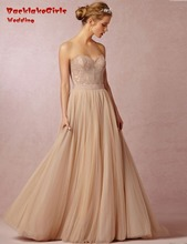 BacklakeGirls Elegant Custom Made A Line Bride Gown Applique Tulle Formal Long Wedding Dress 2017 Casamento Vestido De Noiva