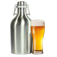 New 1.5L Metal Homebrew Beer Growler Stainless Steel Water Bottle with Secure Lid Craft Wine Container