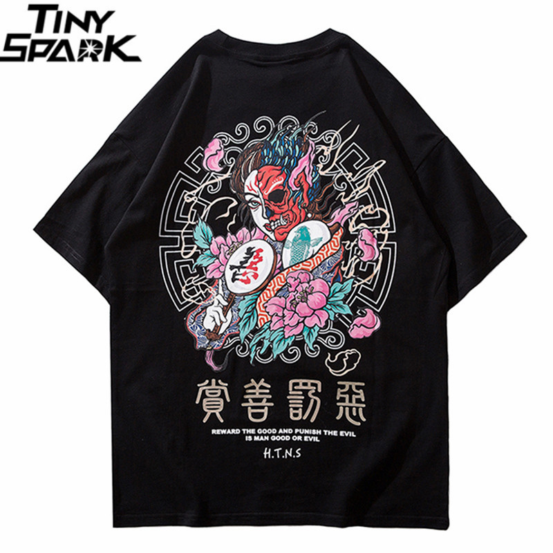 2019   T     Shirt   Streetwear Men Good And Evil Print Hip Hop   T  -  Shirt   Chinese Character Harajuku Tshirt Cotton Short Sleeve Tops Tees
