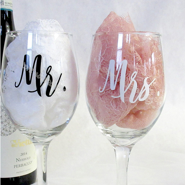 7d2516a3561 18pcs/set Mr and Mrs Wine glasses Sticker Newlyweds Engagement Wedding Gift Champagne  glass decal Copas de vino Sticker EB020