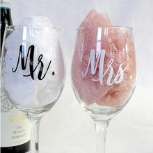 9pcs Mr& 9pcs Mrs /set Wine glasses Sticker Newlyweds Engagement Wedding Gift Champagne Glass Decor EB020